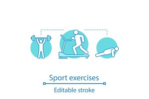 Sport exercises concept icon