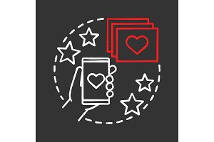 Smartphone dating app chalk icon