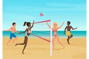 People having fun playing volleybal