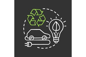 Green technology chalk concept icon