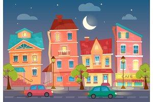Cartoon City street at night