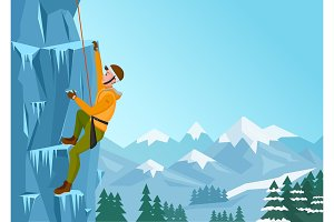 Ice rock Climbing man.