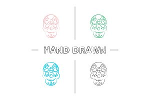 Day of the Dead hand drawn icons set