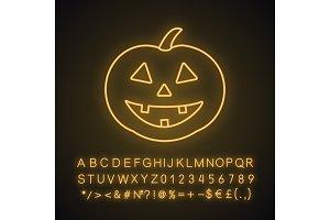 Halloween pumpkin neon light icon