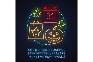Halloween neon light concept icon