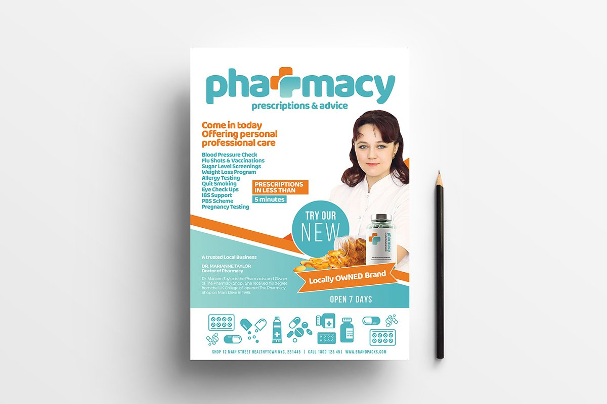 A4 Pharmacy Poster Template ~ Flyer Templates ~ Creative Market