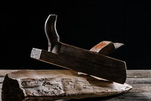 close up view of vintage woodworker