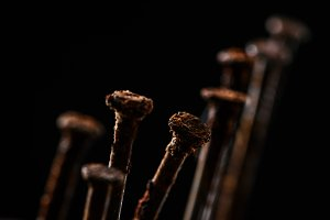 close up view of vintage rusty nails