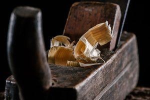selective focus of vintage woodworke