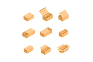 Packaging box. Isometric set images