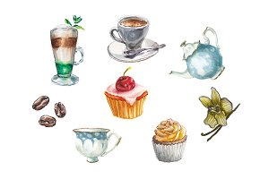 Watercolor, desserts coffee and tea