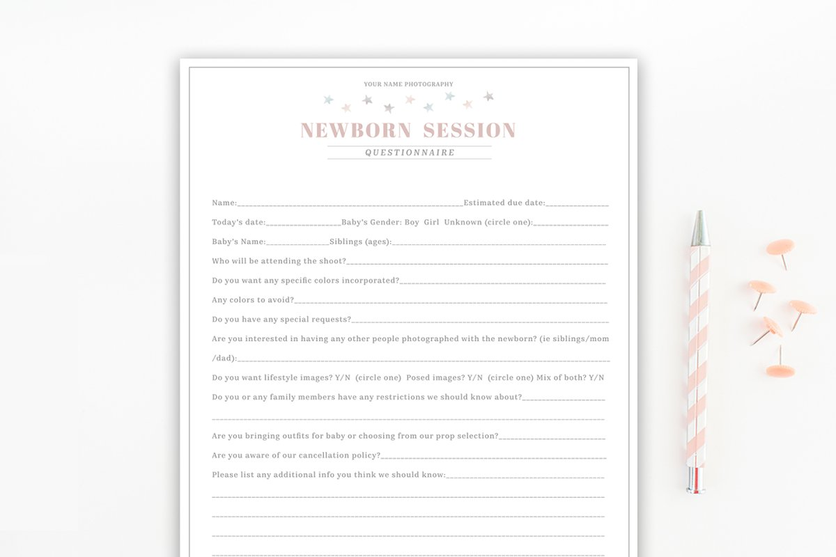 Newborn Photography Questionnaire Template