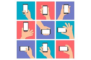 Hand holds a smart phone Vector icon