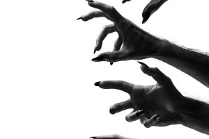 Black creepy halloween monster hand
