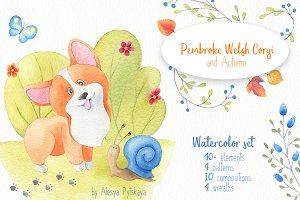 Pembroke Welsh Corgi -Watercolor Set