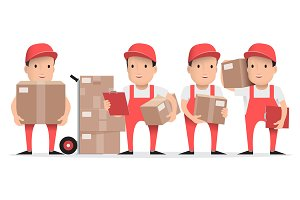 Character delivery man in red unifor