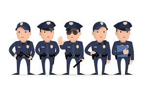 Police character. Set of different p