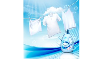 White clothes hanging on rope Vector