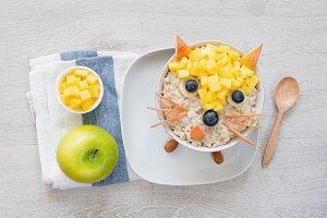 Breakfast for kids, oatmeal porridge