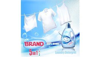 Laundry detergent ad. Vector