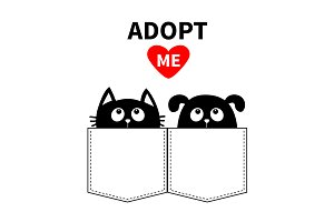 Adopt me. Dog and cat. Red heart.