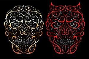 Skull Shape Vector Patterns