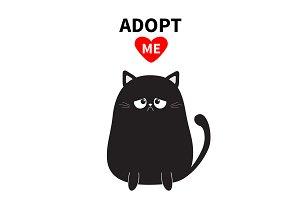 Black sad cat. Adopt me.