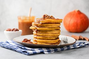 Stack of tasty pumpkin pancakes