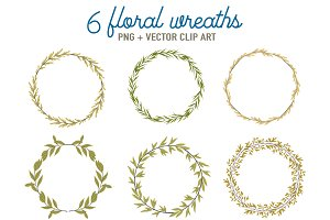 6 green Floral wreaths clip art
