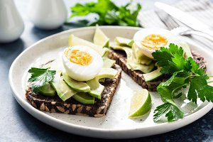 Toast with avocado and boiled egg