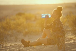adventure traveller woman on seacoas