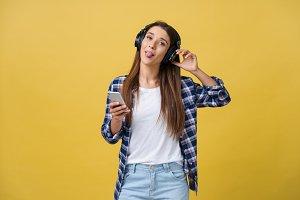 Beautiful young woman in headphones