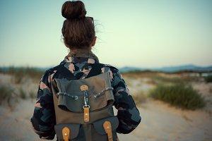 adventure traveller woman in hiking
