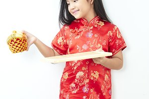 Girl child in traditional Chinese dr