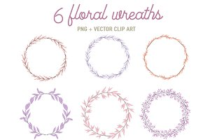 6 floral wreaths in pink and lilac