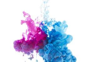 bright paint splashes