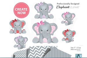 Girl elephant clipart three colors