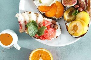 Different sandwiches fruit