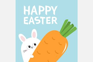 Happy Easter Bunny rabbit and carrot