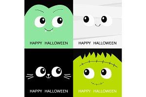 Halloween. Count Dracula. Mummy. Cat