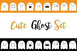 Cute ghost. Emoji icon set.