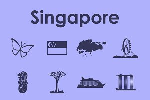 Singapore simple icons
