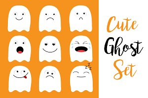Halloween. Ghost emoji icon set.
