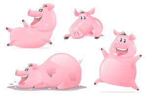 Set of Pig Cartoon