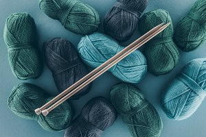 blue and green knitting yarn with kn