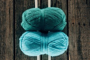top view of blue and green yarn with