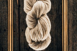 top view of white knitting yarn with