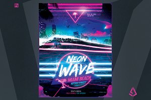 Synthwave Flyer Retrowave Template