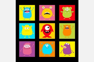Cute monster round square icon set.
