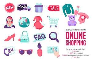 Online Shopping Cartoon Set
